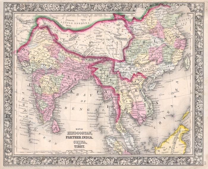 Старая карта Азии и Тибета